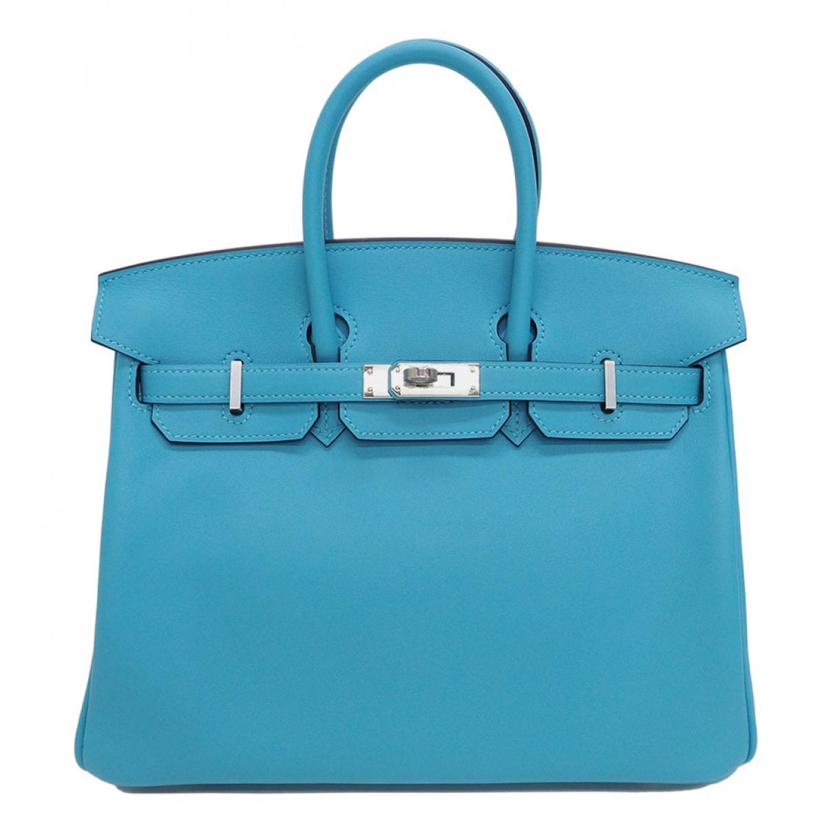 Hermes - Sac a main Birkin 30 pour femme en cuir - bleu