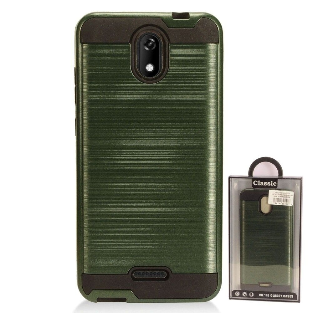 Insten Hard Hybrid Brushed TPU Cover Case For Cricket Icon - Green/Black (Green)