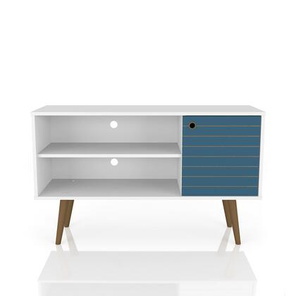 212BMC63 Liberty 42.52 Mid Century -Modern Tv Stand With 2 Shelves And 1 Door In White And Aqua