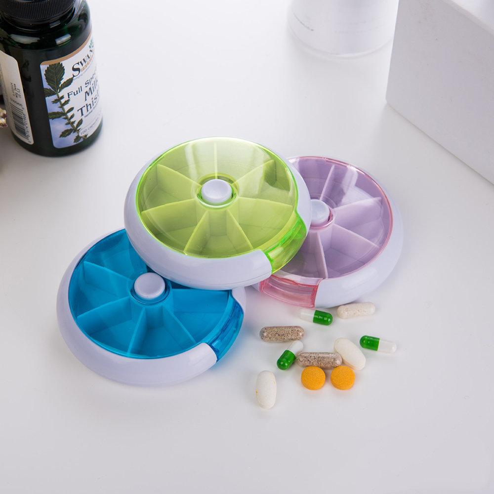 7 Cases Round Pill Box 7 Days Plastic Storage Box Rotating Portable Pill Box Case