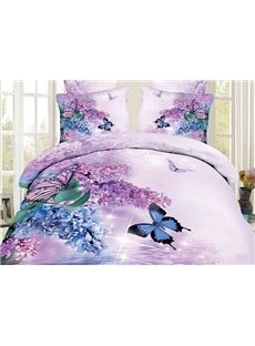 3D Butterfly and Lilac Printed Cotton 4-Piece Bedding Sets/Duvet Covers Ultra-soft Microfiber No-fading Twin Full Queen King