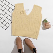 Mixed Knit Crop Sweater Vest