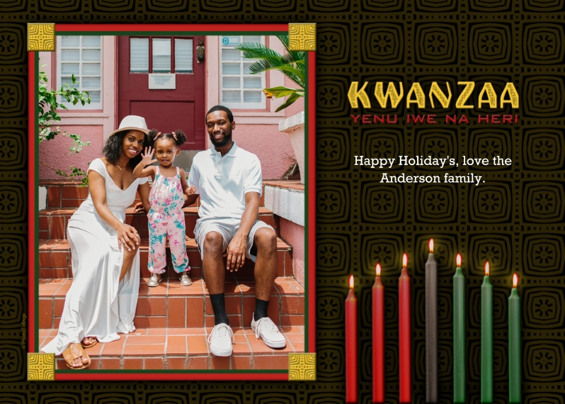 Kwanzaa Photo Cards 5x7 Cards, Premium Cardstock 120lb with Elegant Corners, Card & Stationery -Kwanzaa Candles