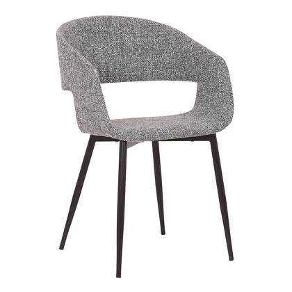 Jocelyn Collection LCJCCHBLGR Dining Accent Chair with Black Metal Tapered Legs  Mid-Century Style and Polyester Fabric Upholstery in Grey and Black