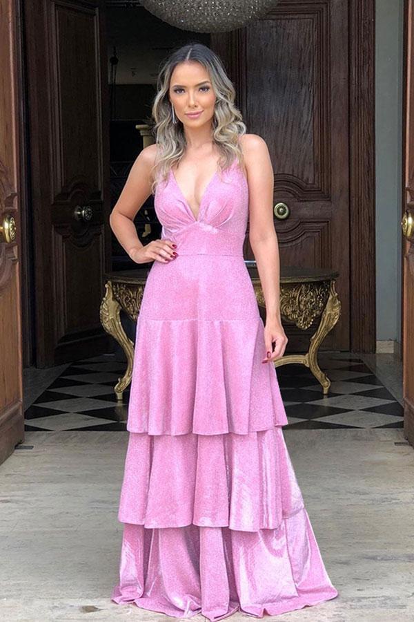 Sparkle Candy Pink Cuello en V profundo Brillante espalda abierta Pliegues Vestidos de baile con volantes romanticos
