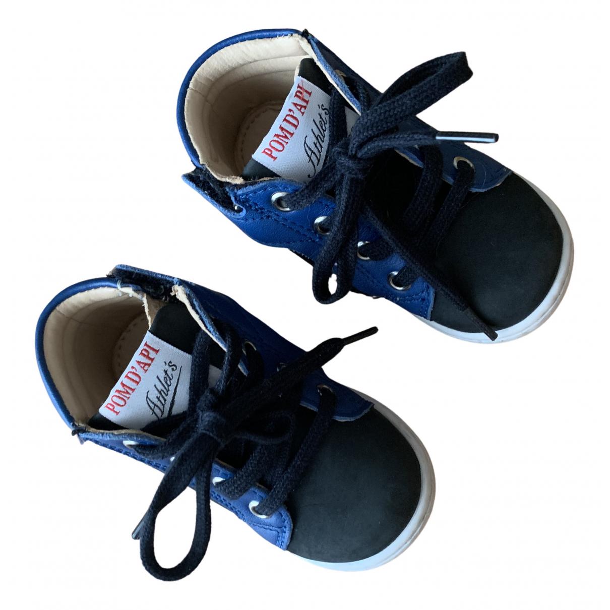 Pom Dapi - Premiers pas   pour enfant en cuir - bleu