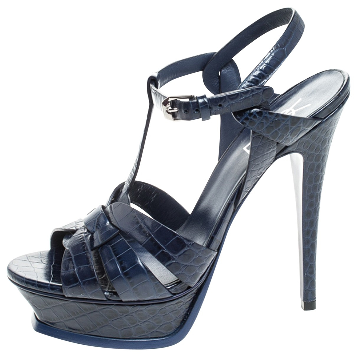 Saint Laurent Tribute Sandalen in  Blau Leder