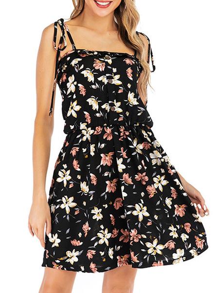 Milanoo Vestido de verano floral Vestido de playa corto negro sin espalda