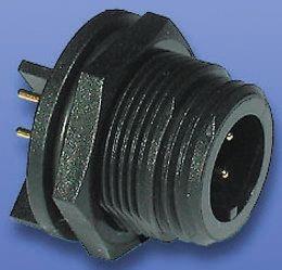 Bulgin Connector, 6 contacts PCB Mount Miniature Plug, Solder IP68, IP69K