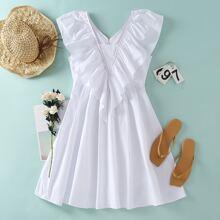 Vestidos Volante exagerado Liso Blanco Casual