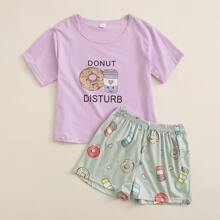 Girls Donuts And Letter Graphic PJ Set