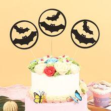 3 Stuecke Tortenaufsatz mit Halloween Fledermaus Design