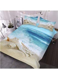 Shells and Sand 3D Coastal Comforter 3-Piece Soft Comforter Sets with 2 Pillowcases