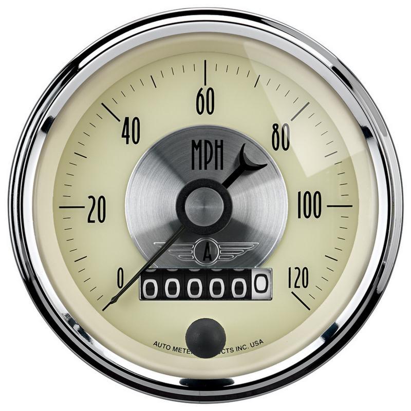 AutoMeter GAUGE; SPEEDO; 3 3/8in.; 120MPH; ELEC. PROGRAM W/WHEEL ODO; PRESTIGE ANTQ. IVORY