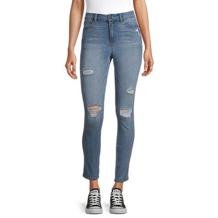 Arizona - Juniors Real Curve Womens High Rise Skinny Fit Jean, 15 , Blue