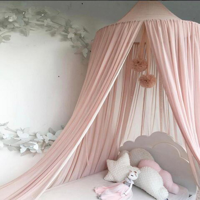 Round Dome Netting Curtains Princess Toddler Bed Canopy