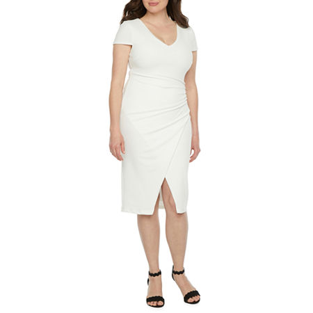 Premier Amour Short Sleeve Sheath Dress, 10 , White