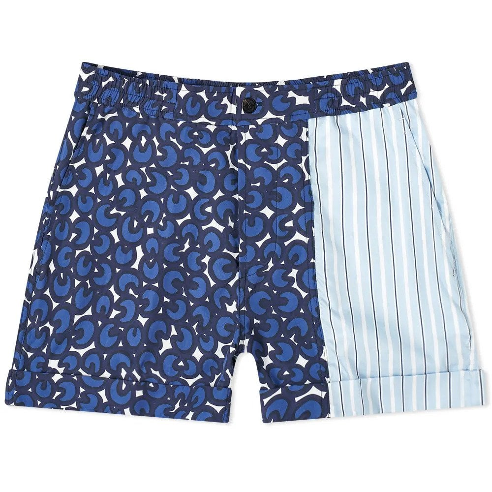 Neil Barrett Mix Print Swim Shorts Colour: BLUE, Size: MEDIUM