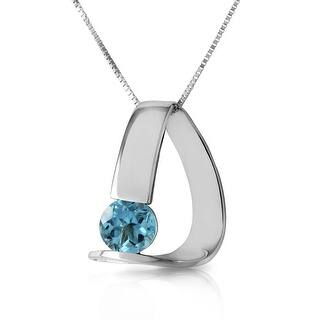 1.00 Carat 14K Solid Gold Modern Necklace with Natural Blue Topaz (24 Inch - White)