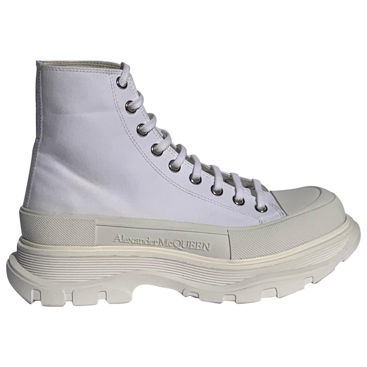 Alexander Mcqueen - Boots   pour femme en toile - blanc