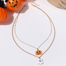 Halloween Pumpkin Layered Necklace