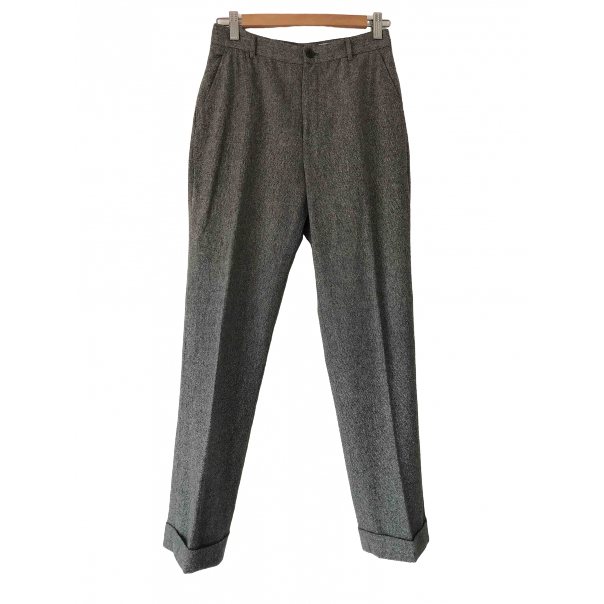 Non Signé / Unsigned \N Grey Wool Trousers for Women 38 FR