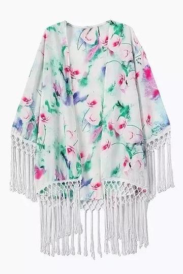 Yoins Fresh Floral Print Tassel Kimono