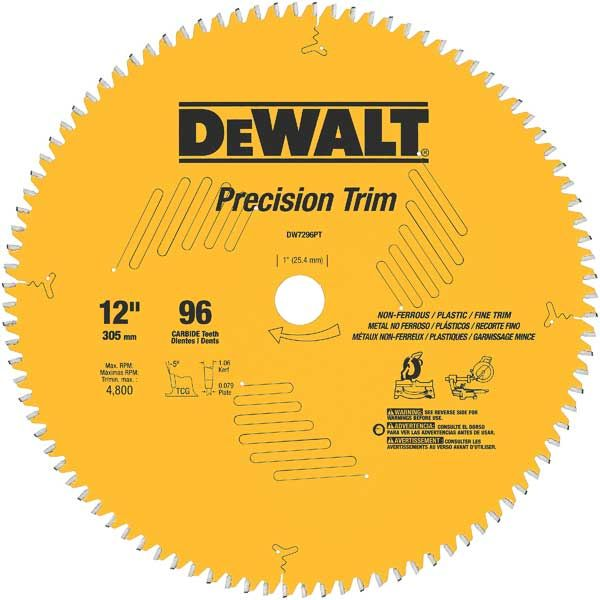 DW7296PT Precision Trim Circular Saw Blade 12