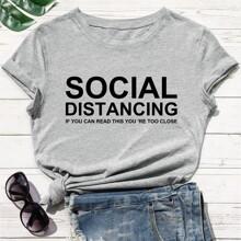 Camiseta de manga corta con estampado de slogan