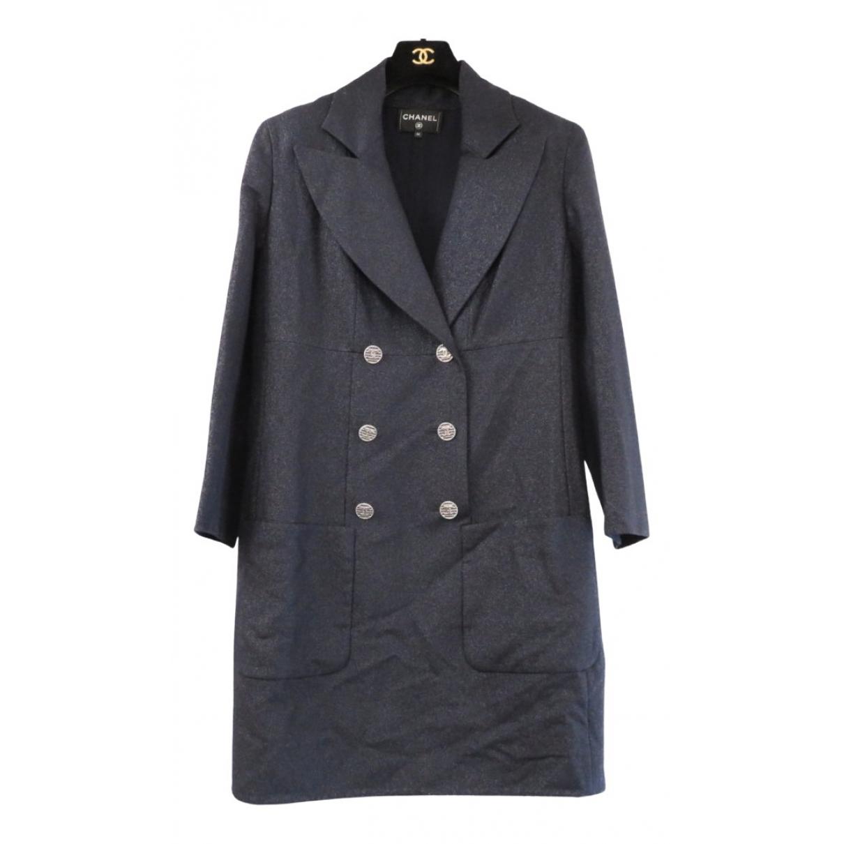 Chanel - Manteau   pour femme en laine - marine