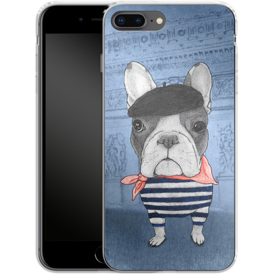 Apple iPhone 8 Plus Silikon Handyhuelle - French Bulldog with Arc de Triomphe von Barruf