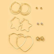6 pares pendientes con diseño de corazon y estrella
