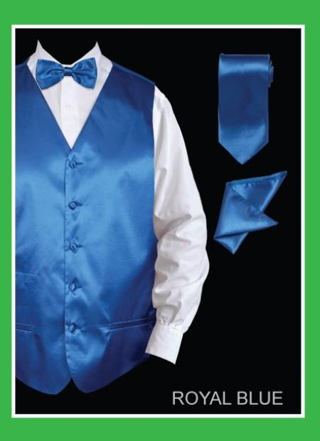 Mens 4 Piece Vest Set  Satin Royal Blue