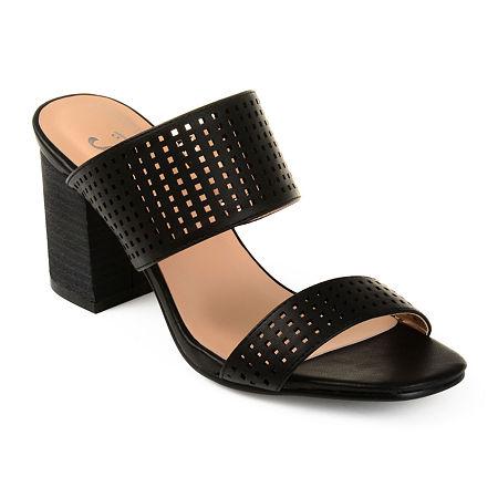 Journee Collection Womens Sonya Open Toe Slip-on Mules, 8 1/2 Medium, Black