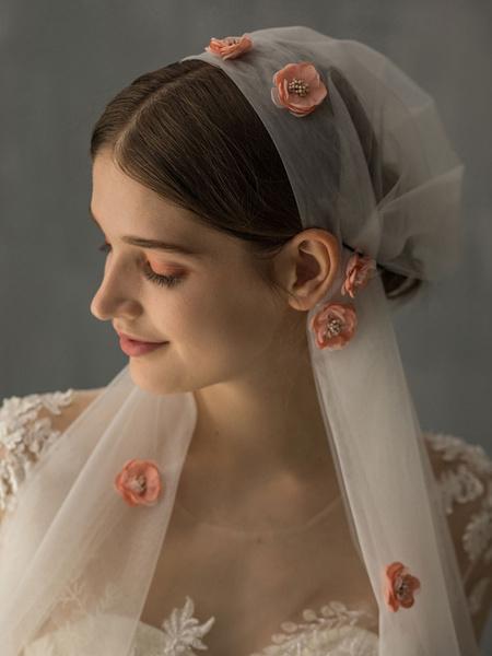 Milanoo Wedding Veil One Tier Flowers Tulle Cut Edge Drop Bridal Veil