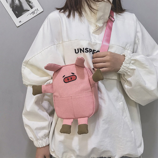 Cute Pig Cartoon Shape Canvas Bag Crossbody Bag For Women Girls