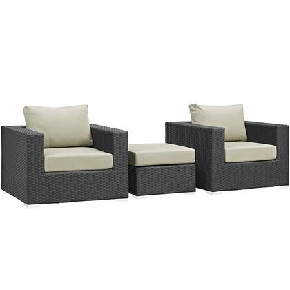 Sojourn Collection EEI-1891-CHC-BEI-SET 3 PC Outdoor Patio Sectional Set with Sunbrella Fabric  Powder Coated Aluminum Frame  Synthetic Rattan Weave