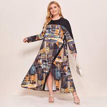 Plus Graphic Print Slit Hem Dress