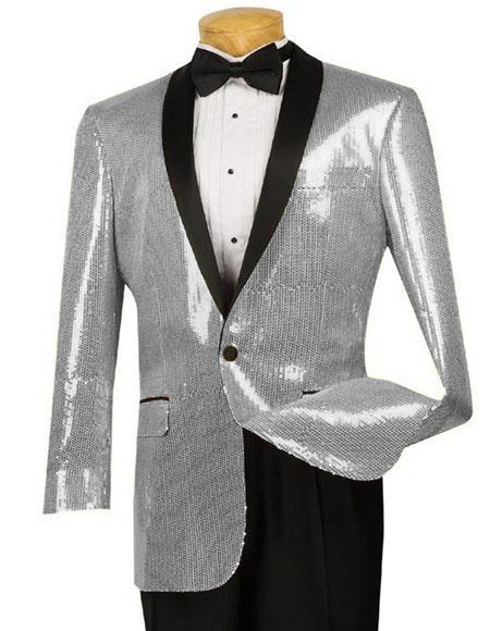 Mens Black Blazer Sport Coat Tuxedo Dinner Jacket Sequin Shiny Paisley