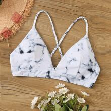 Marble Print Lace Up Swimming Top