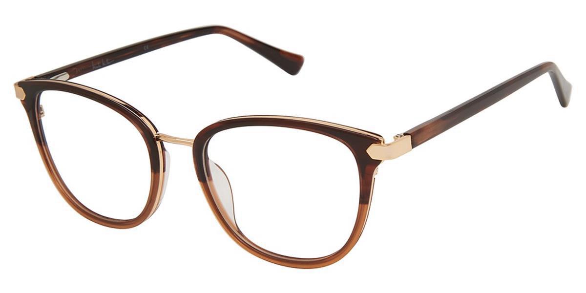 Nicole Miller RIVIERA C01 Women's Glasses Brown Size 51 - Free Lenses - HSA/FSA Insurance - Blue Light Block Available