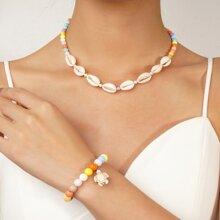 1pc Shell Decor Beaded Necklace