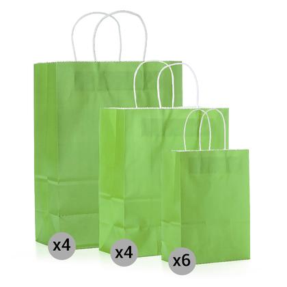 Ensemble de 14 sacs de papier kraft , petits, moyens et grands formats, vert - LIVINGbasics ™