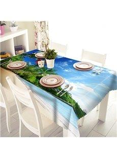 Beautiful Polyester Sandbeach and Sea Scenery Pattern 3D Tablecloth