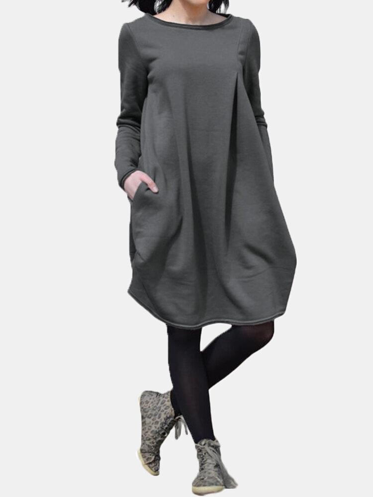 Solid Color O-neck Long Sleeves Casual Dress With Pocket