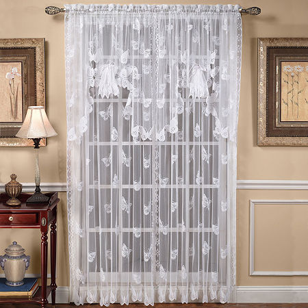 Saturday Knight Butterfly Lace Sheer Rod-Pocket Single Curtain Panel, One Size , White