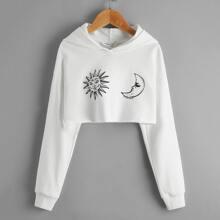 Hoodie mit Sonne & Mond Muster und sehr tief angesetzter Schulterpartie