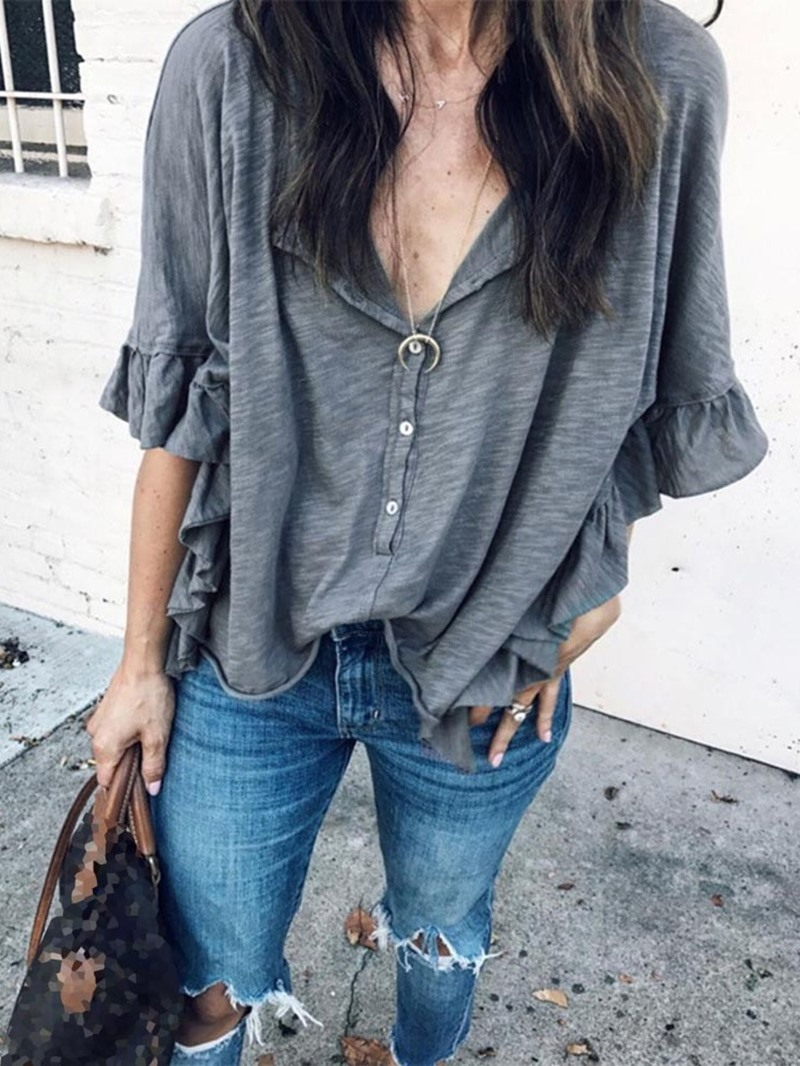 Ericdress Ruffle Sleeve Plain Half Sleeve Standard Women's Blouse