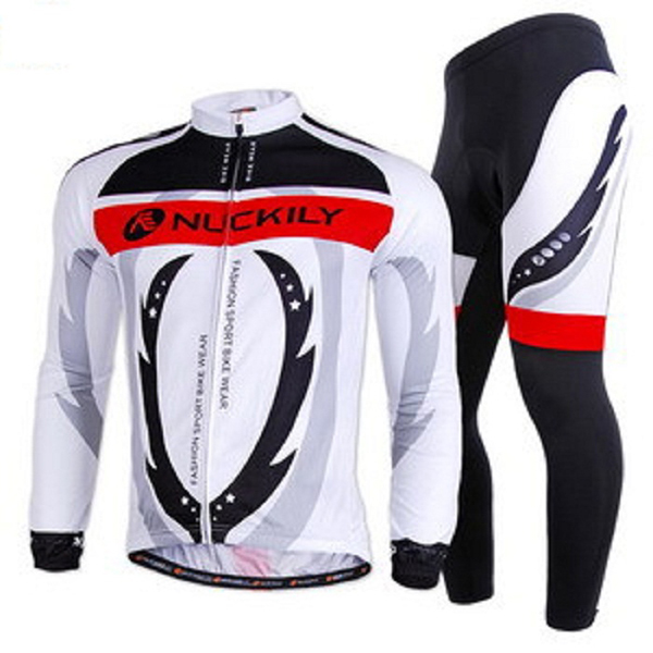 Male Full Zipper Bike Long Sleeve Jersey with Sponged Pants Quick-Dry Cycling Suit