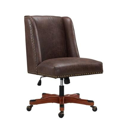 BM213977 Nailhead Trim Leatherette Swivel Office Chair with Casters